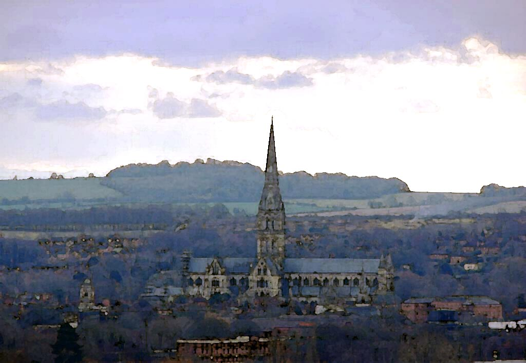 Salisbury Cathedral from Old Sarum comp.JPG